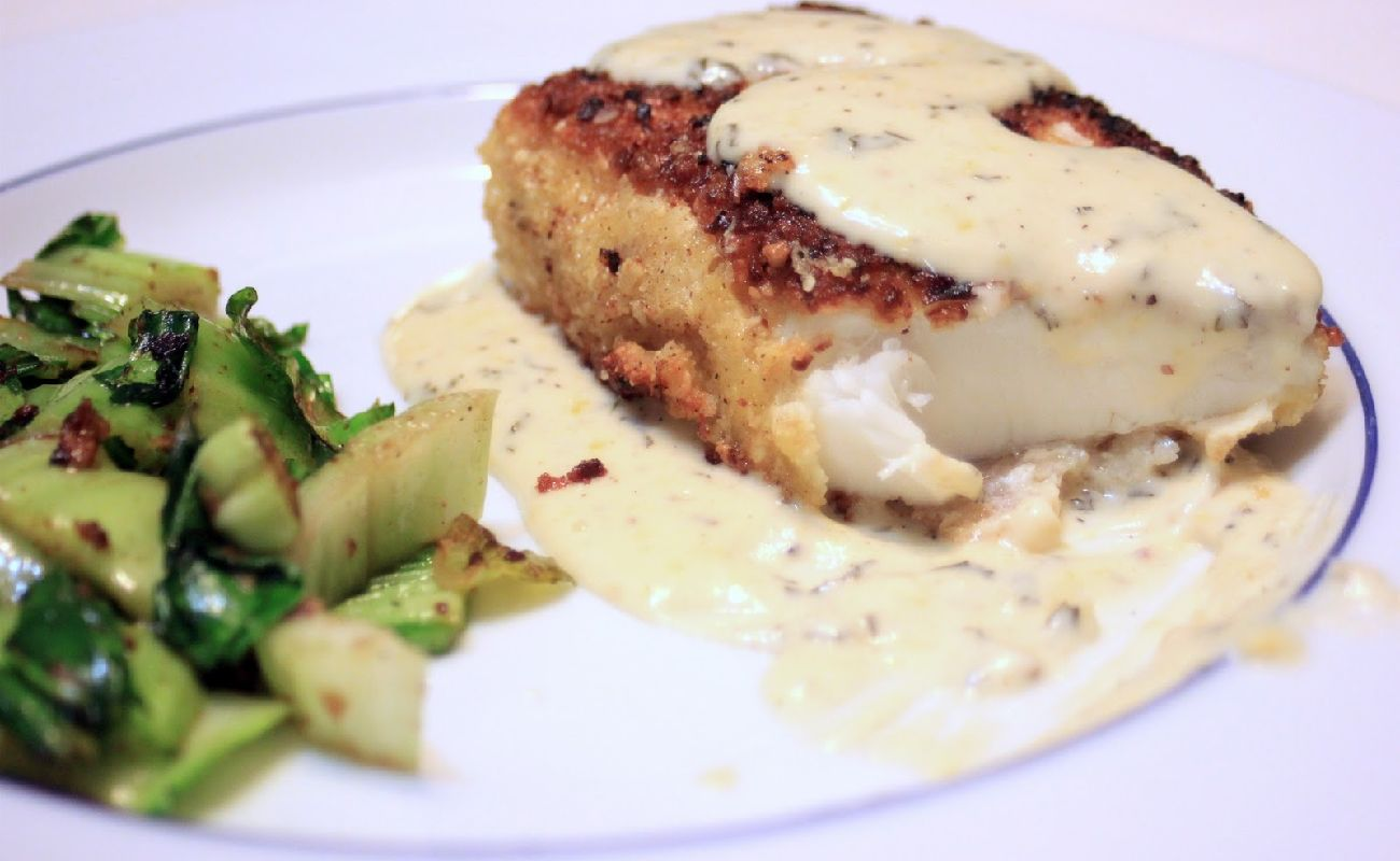 Halibut with Almond Sauce